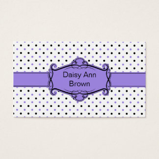 Purple and Black Polka Dots Business Card