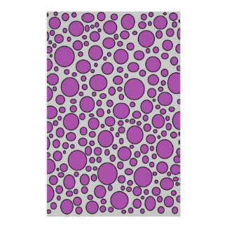 Purple and Black Polka Dots Grey Stationery
