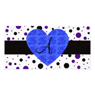 Purple and black polka dots monogram blue roses photo card