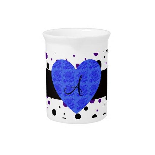 Purple and black polka dots monogram blue roses pitchers
