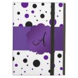 Purple and black polka dots monogram iPad cover