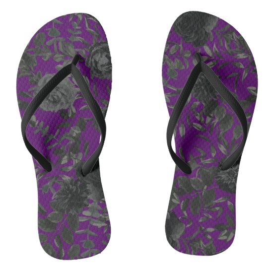 Purple and Black Rose Gothic Wedding Flip-Flops Flip Flops