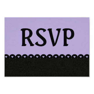 Purple and Black RSVP Hearts Scalloped Lace V08 Card