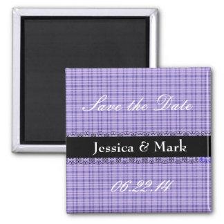 Purple and  Black Save Date Gingham Wedding Magnet Refrigerator Magnet