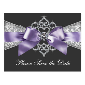 Purple and Black Save The Date Postcard