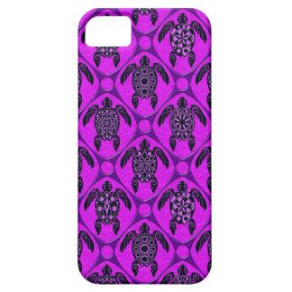 Purple and Black Sea Turtle Pattern iPhone 5 Cases