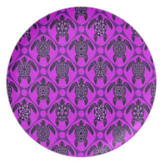 Purple and Black Sea Turtle Pattern Party Plates