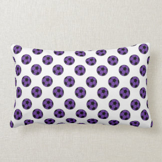 Purple and Black Soccer Balls on White Rectangle Throw Pillows