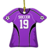 Purple and Black Soccer Jersey #19 Christmas Tree Ornament