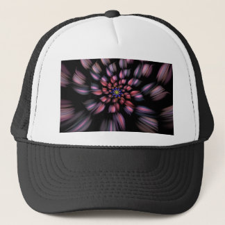 Purple and Black Spiral Flower Fractal Art Trucker Hat