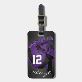 Purple and Black Sporty Volleyball Luggage Tag