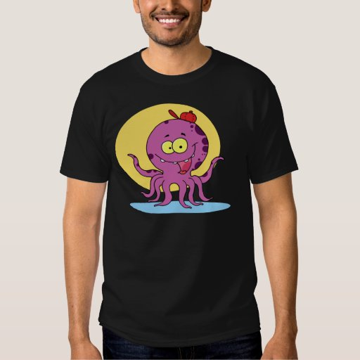 Purple and black spotted Octopus T Shirt