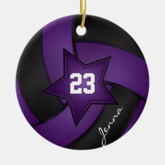 Purple and Black Star Volleyball Ceramic Ornament