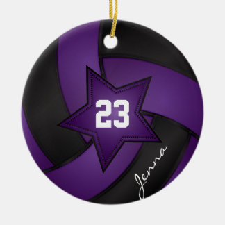 Purple and Black Star Volleyball Double-Sided Ceramic Round Christmas Ornament