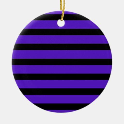 Purple and Black Stripe Customizable Design Things Christmas Tree Ornaments