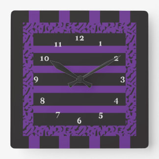 Purple and Black Striped Leopard Print Square Wall Clocks