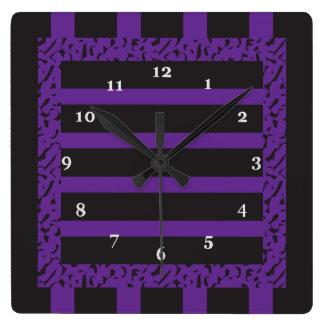 Purple and Black Striped Leopard Print Square Wall Clock