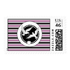 Purple and Black Striped Love Birds Wedding Set Postage