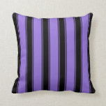[ Thumbnail: Purple and Black Striped Pattern Throw Pillow ]
