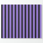 [ Thumbnail: Purple and Black Striped Pattern Wrapping Paper ]
