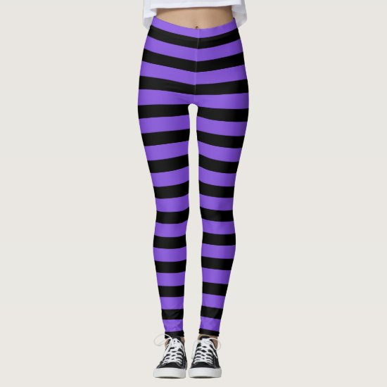 Purple And Black Striped Witch Halloween Leggings