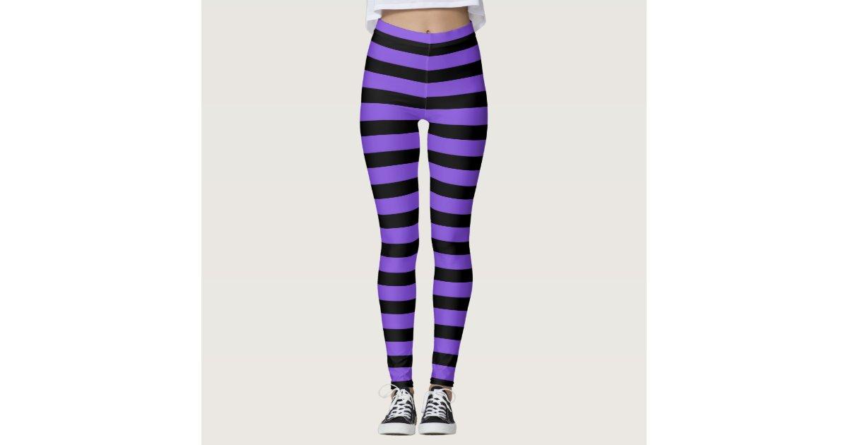 Purple And Black Striped Witch Halloween Leggings | Zazzle.com