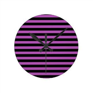 Purple and Black Stripes Clock