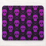 Purple and Black Sugar Skull Pattern Mouse Pad