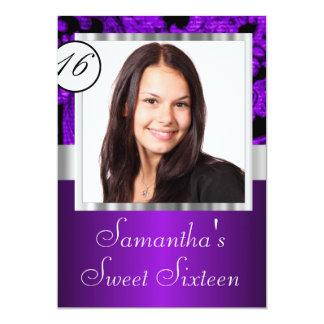 Purple and black sweet sixteen card