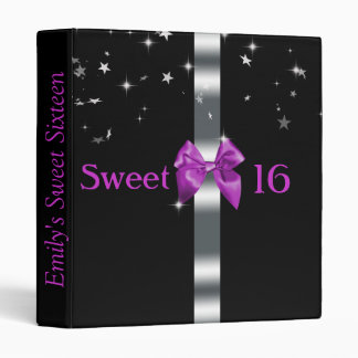 Purple and Black, Sweet Sixteen, Custom Album 3 Ring Binder