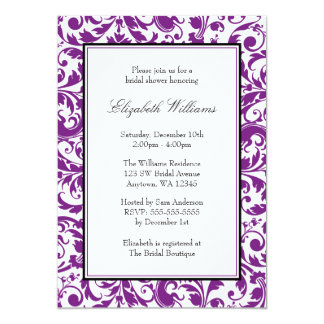 Purple and Black Swirl Damask Bridal Shower 5x7 Paper Invitation Card