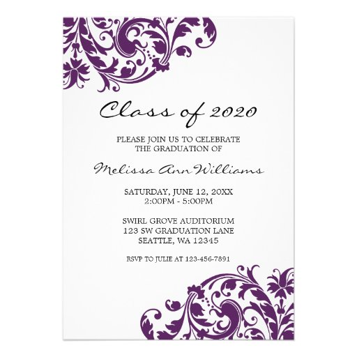 Purple and Black Swirl Graduation Announcement (front side)