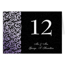 purple and Black Swirling Border Wedding Card
