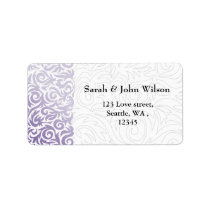 purple and Black Swirling Border Wedding Label
