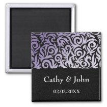 purple and Black Swirling Border Wedding Magnet