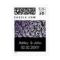 purple and Black Swirling Border Wedding Postage
