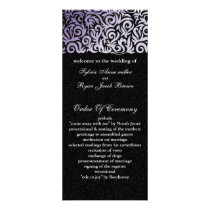purple and Black Swirling Border Wedding Rack Card