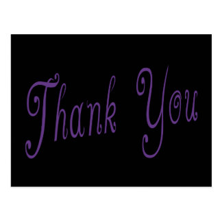 Purple and Black Thank You Greeting Postcard