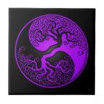 Purple and Black Tree of Life Yin Yang Ceramic Tile