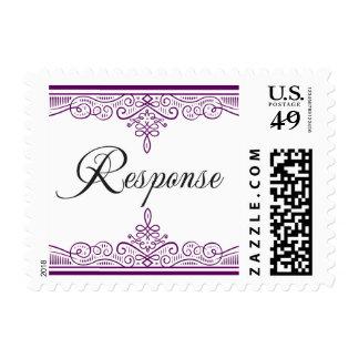 Purple and Black vintage bracket rsvp Postage Stamp