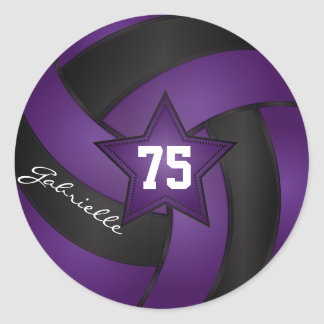 Purple and Black Volleyball | DIY Name & Number Classic Round Sticker