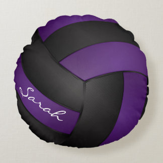 Purple and Black Volleyball Round Pillow