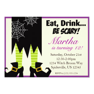 Purple and Black Witch Halloween Party Invite