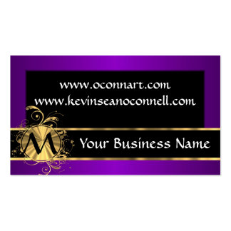 Purple and black with monogram business cards