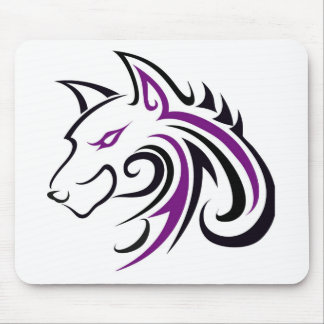Purple and Black Wolf Head Outline Mouse Pad