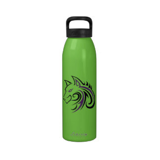 Purple and Black Wolf Head Outline Water Bottle