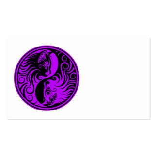 Purple and Black Yin Yang Cats Business Card Template