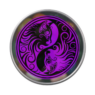 Purple and Black Yin Yang Cats Jelly Belly Tin