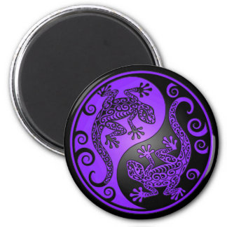 Purple and Black Yin Yang Geckos 2 Inch Round Magnet