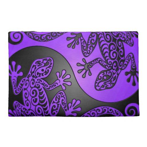 Purple and Black Yin Yang Geckos Travel Accessories Bag